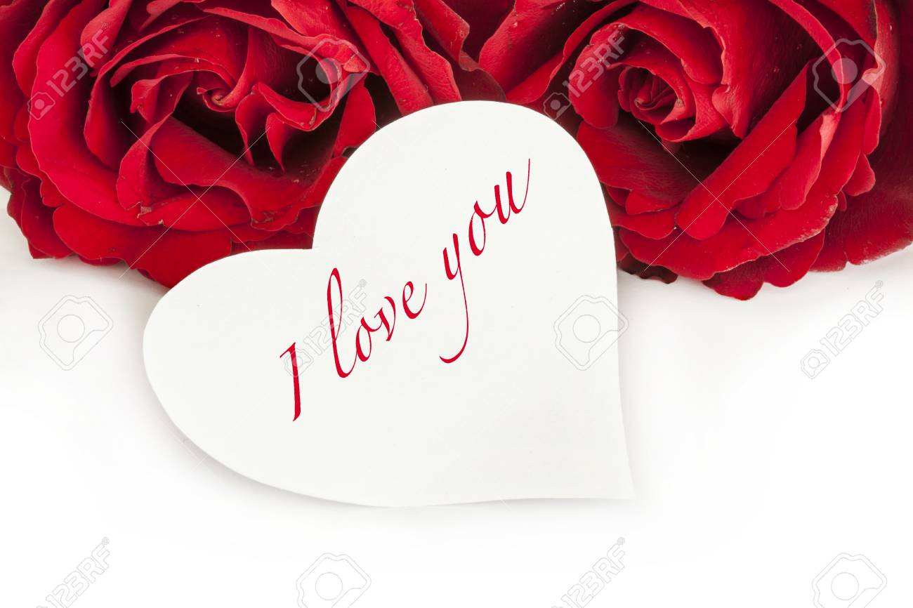 Roses With I Love You Greeting On Heart Stock Photo Picture And