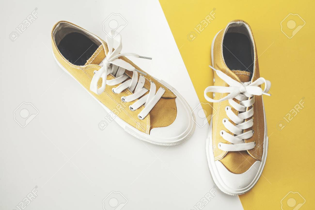 Canvas shoes high angle view - 97882639