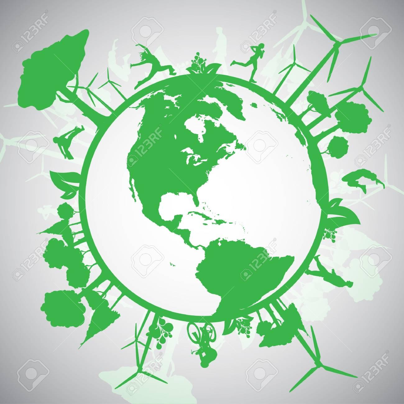 Green Eco World Stock Vector - 17528286
