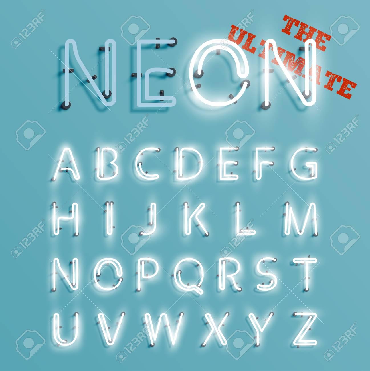 Realistic neon character set, vector illustration - 125021124