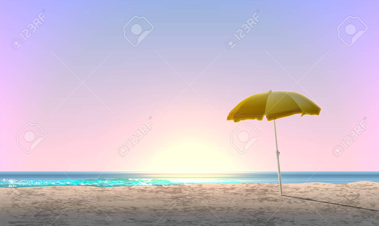 Realistic landscape of a beach with sunset / sunrise and a yellow parasol, vector illustration - 124356846