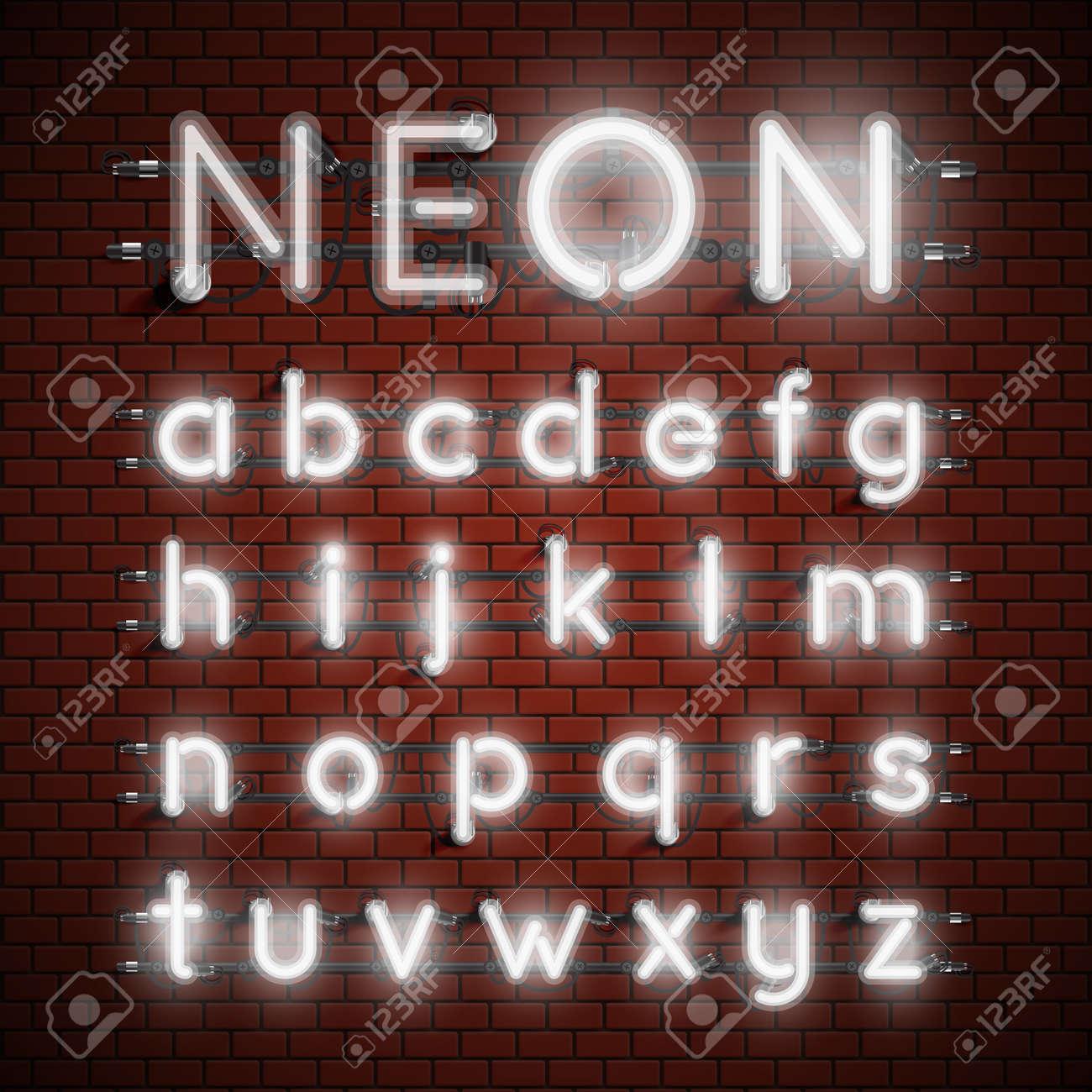 High detailed neon font set, vector illustration - 121176051