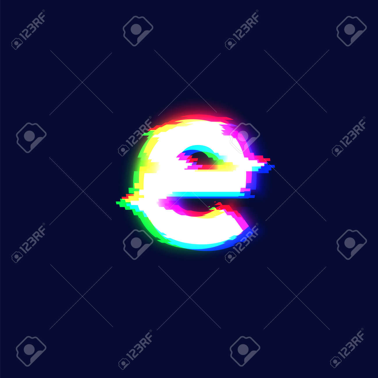 Realistic glitch font character 'e', vector illustration - 152114837