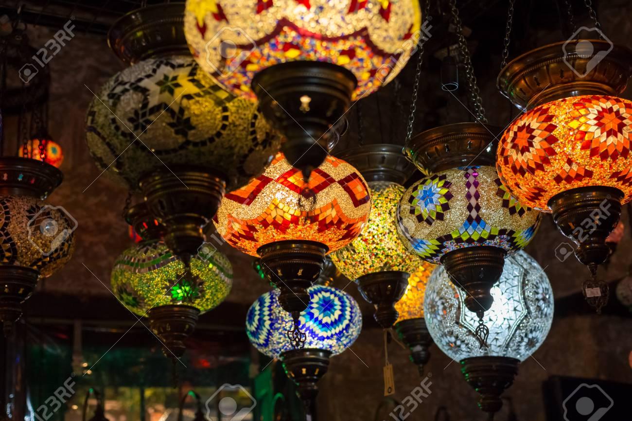 Beautiful Turkish Mosaic Lamps On Istanbul Bazaar.Turkey Stock Photo    88262460