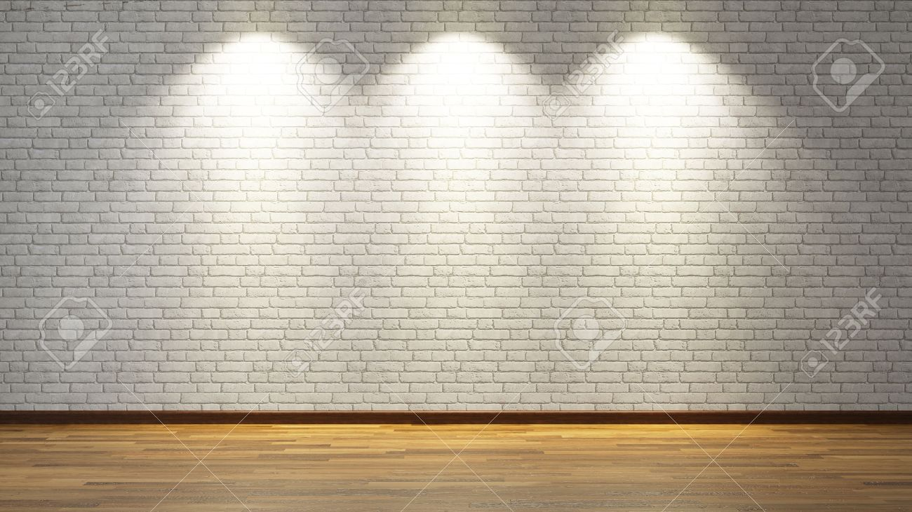 Brick Wall Light: Stock Photo - brick wall under three spot lights for your design,Lighting