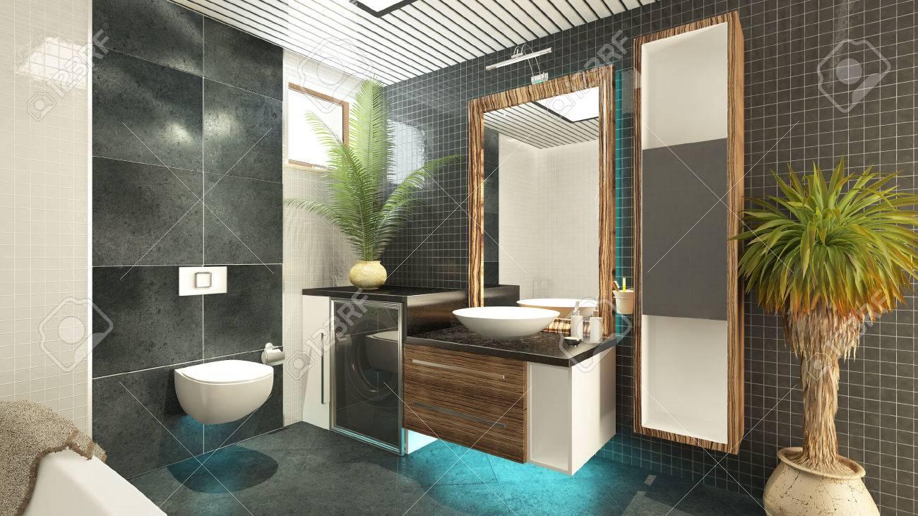 Modelo De Cuarto De Baño Interior 3d Rinde Fotos, Retratos, Imágenes ...