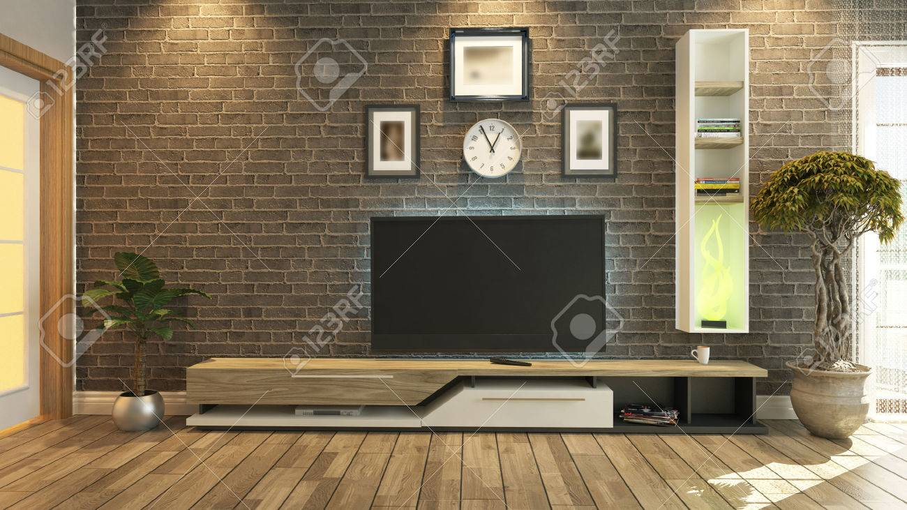 Tv kamer, salon of woonkamer met bakstenen muur planten en tv ...