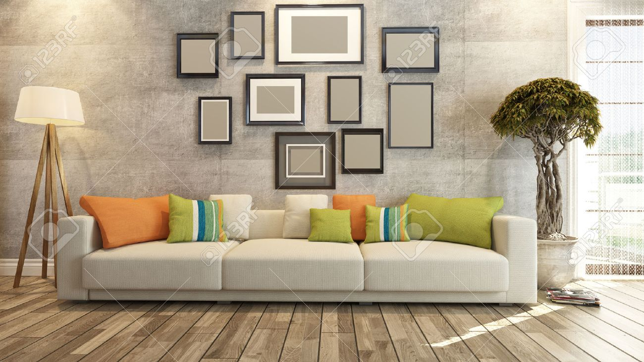 Living Room Or Saloon Interior Design Photo Frames 3d Rendering ...
