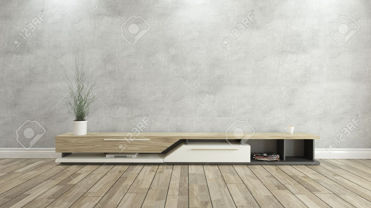 Tv Stand With Concrete Wall And Wooden Parquet Background For  # Meuble Tv Beton Bois