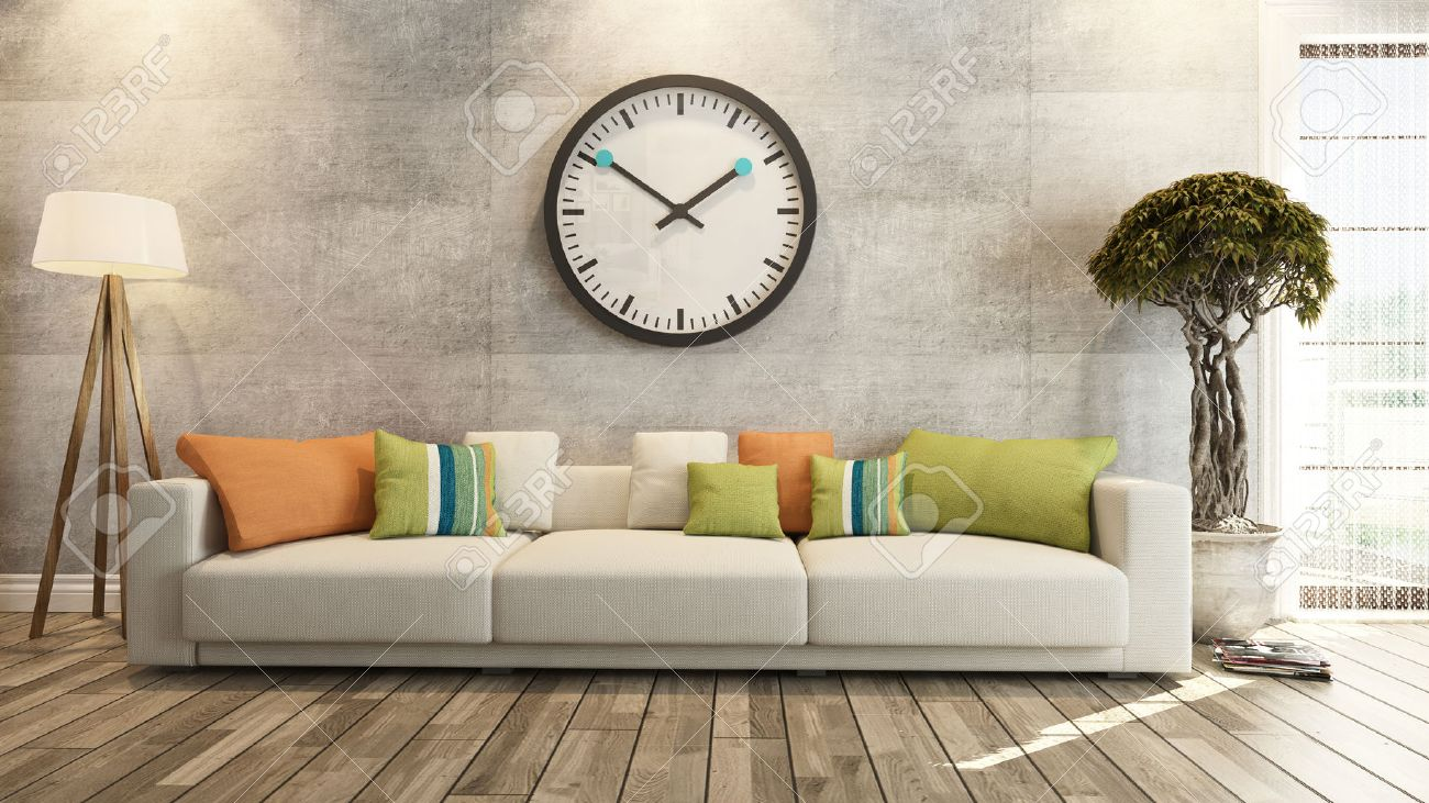 Woonkamer of salon interieur met grote muur horloge 3d rendering ...