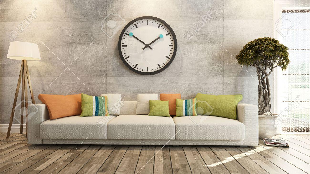 Wohnzimmer Oder Saloon Innenausstattung Mit Großen Wand Uhr 3D ...