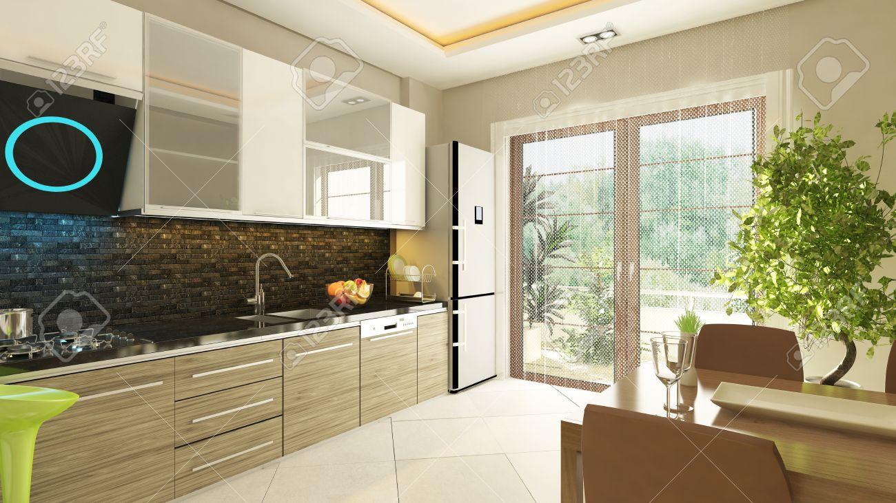 Moderne Küche Design Mit Bündig Schrank Lizenzfreie Fotos, Bilder ...