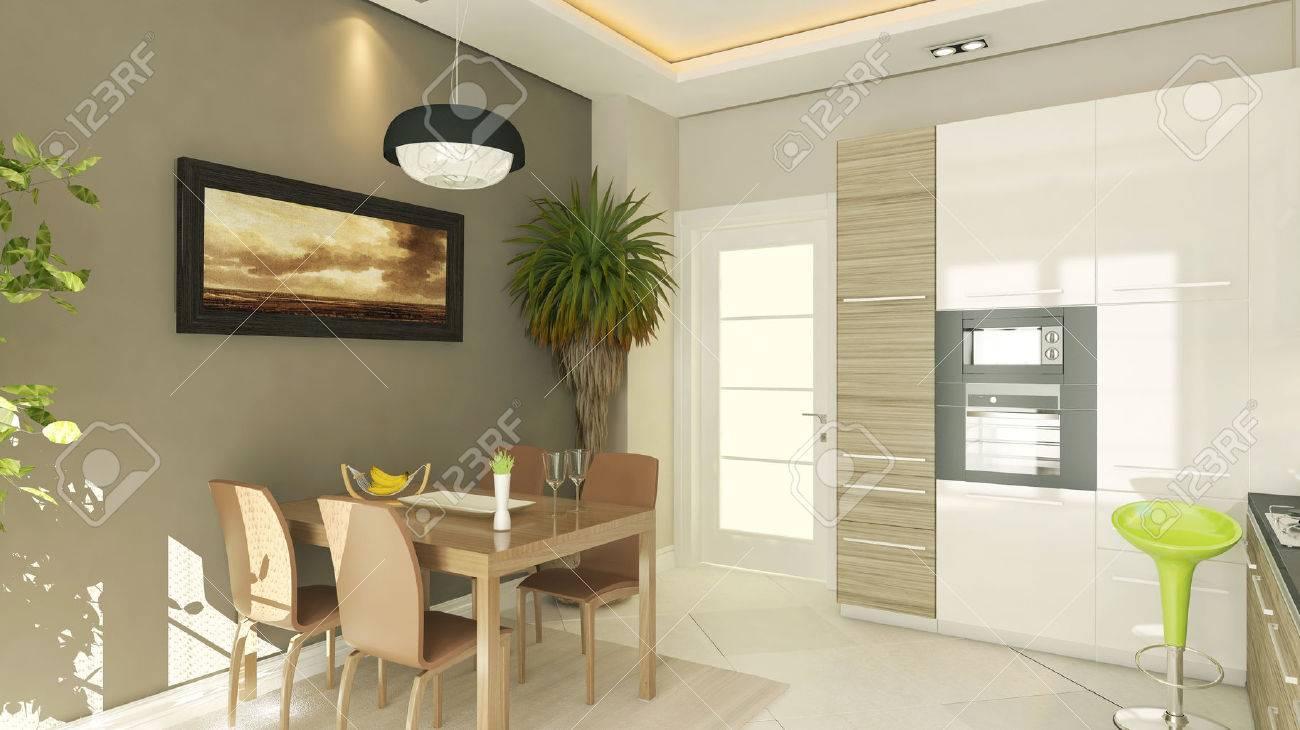 Moderno disegno della cucina con rendering foto royalty free ...