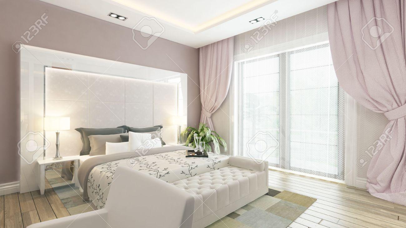 Chambre design moderne avec mur rose et rideaux par sedat seven ...