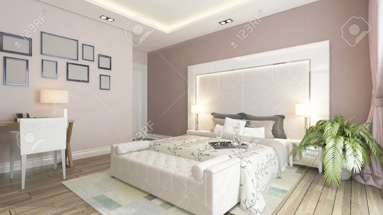 Image of: Modern Bedroom Design With Pink Wall Plant And Frames By Sedat Stock Photo Picture And Royalty Free Image Image 36882170