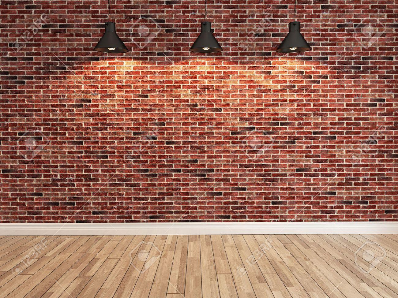 interior red brick wall decoration under three light interior