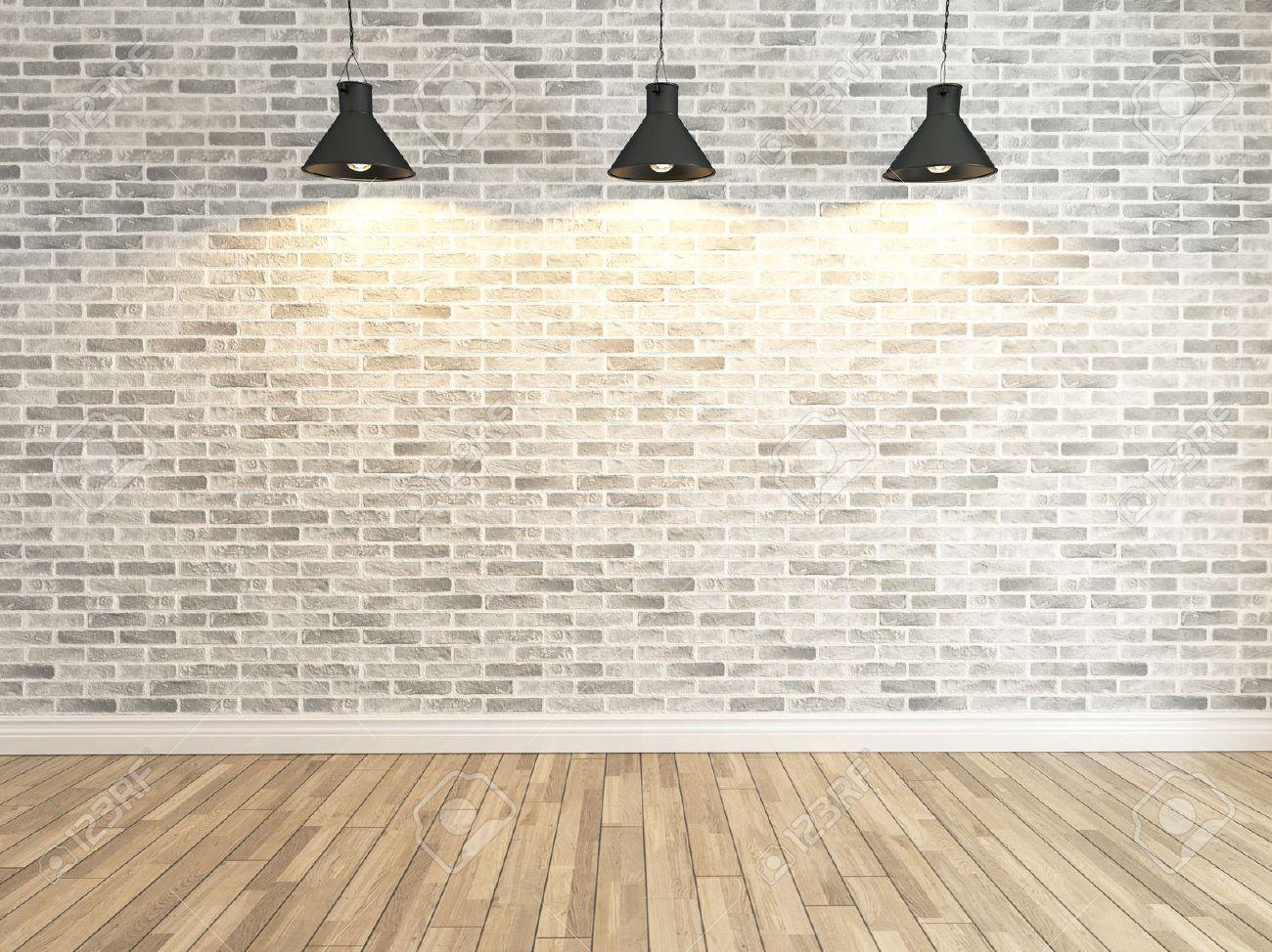 Charming Interior White Brick Wall Decoration Under Three Light, Interior Wall  Pattern And Background Stock Photo