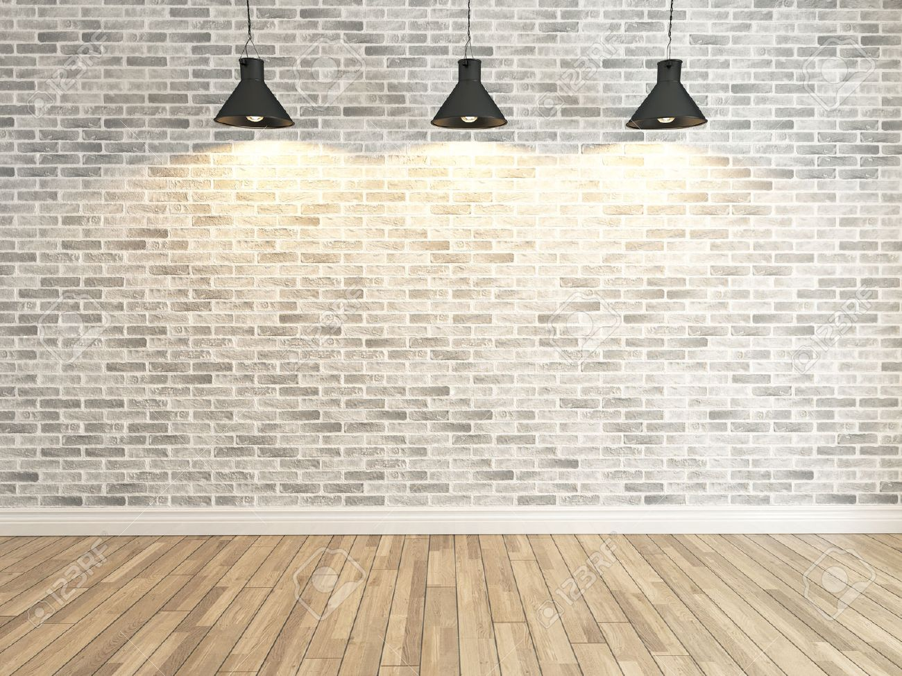 Interior White Brick Wall Decoration Under Three Light, Interior Wall  Pattern And Background Stock Photo