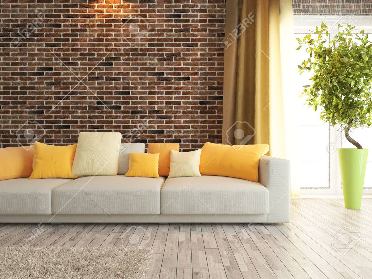 Modern Sofa With Red Brick Wall Interior Design Rendering Stock Photo    47615956