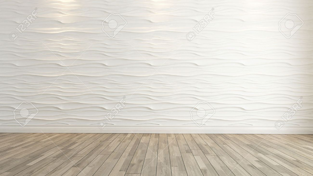 Wave wall decoration with wooden floor background and template stock stock photo wave wall decoration with wooden floor background and template ppazfo