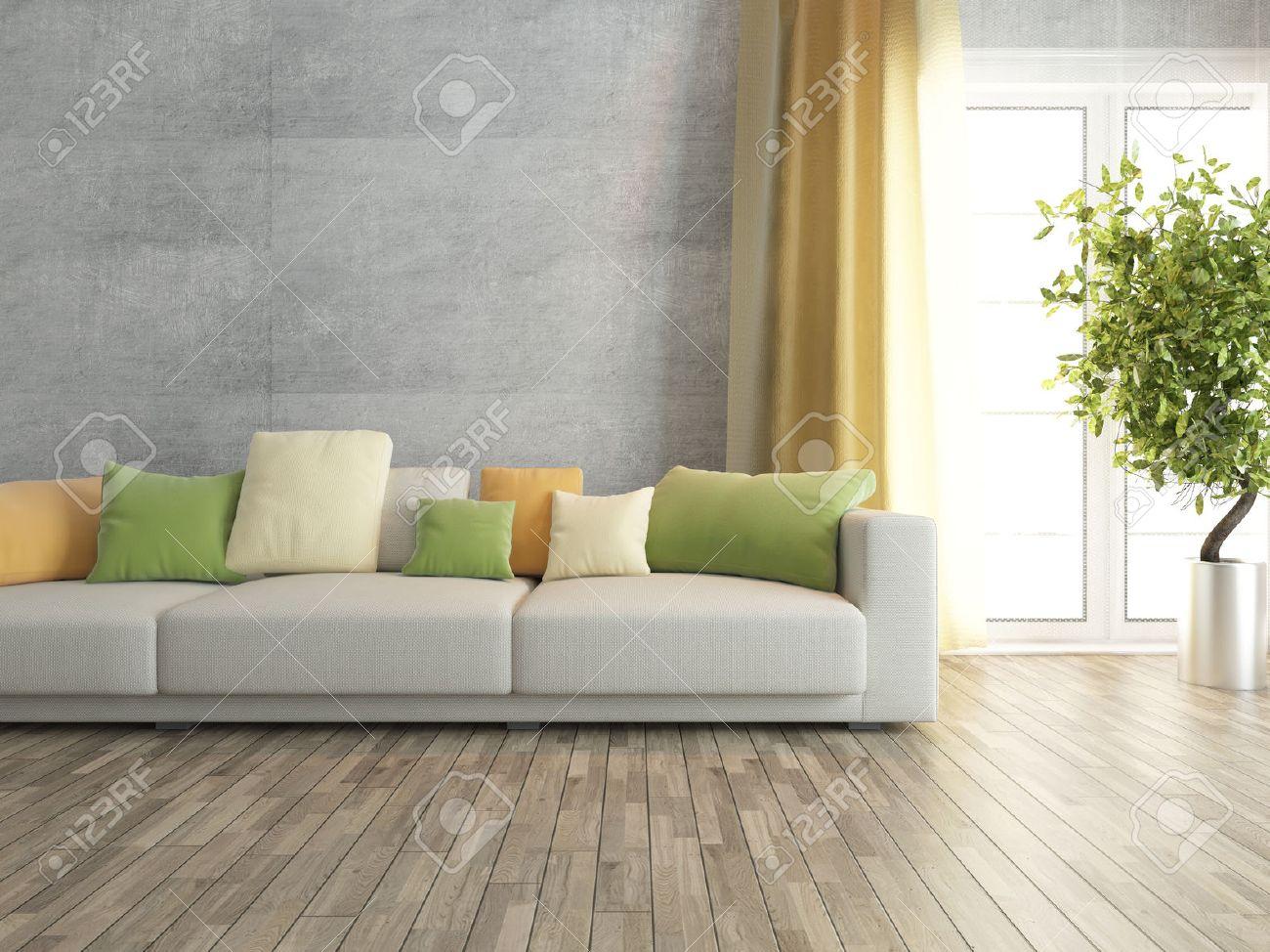 Concrete Wall With Sofa Interior Design Stock Photo Picture And