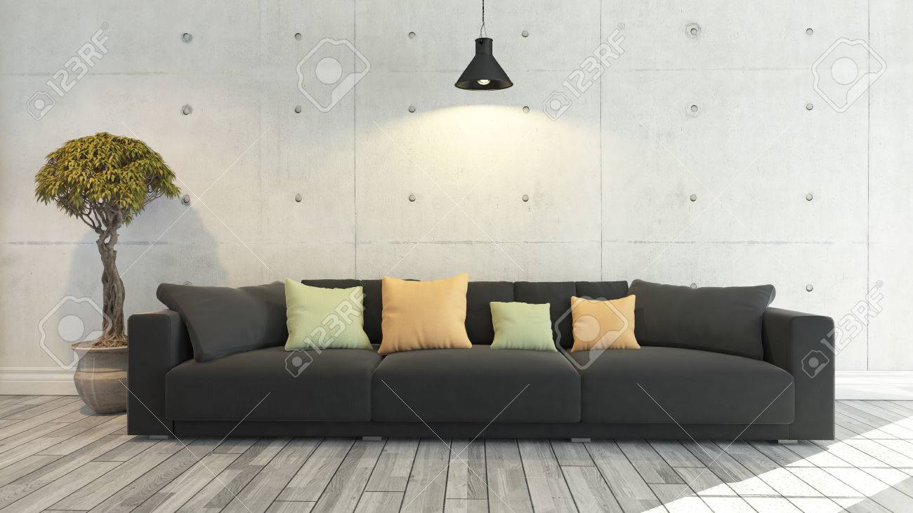 Black Cloth Sofa With Concrete Wall And Wooden Parquet Decor Stock