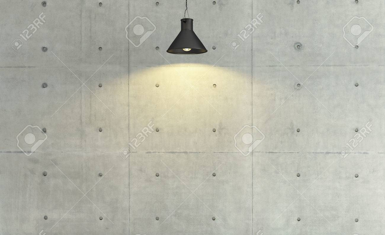 Concrete Wall Loft Style Under Spot Light Effect, Background, Template  Design Stock Photo