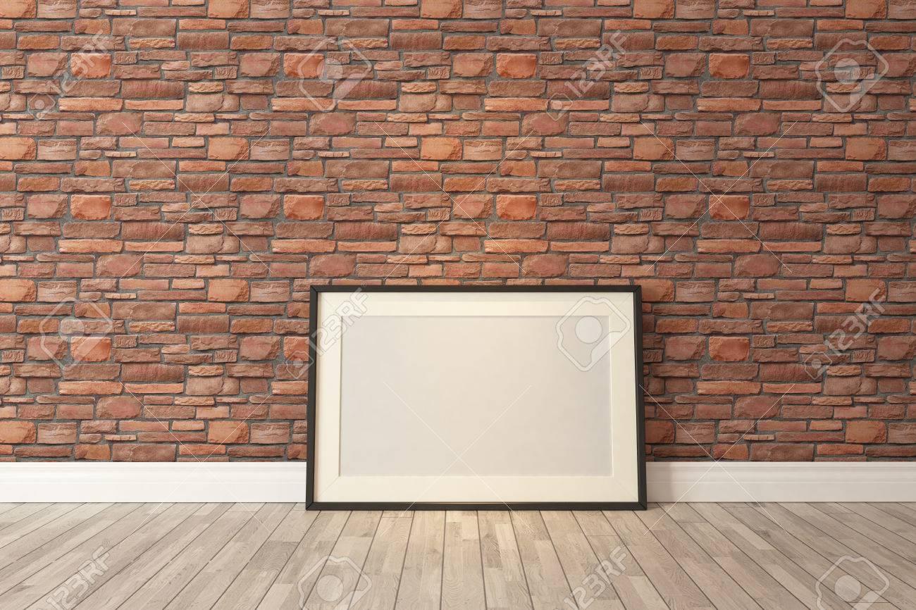 Blank Bilderrahmen Mit Roten Natürliche Backsteinmauer Und ...