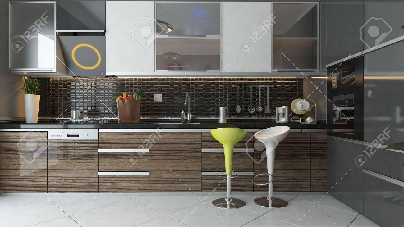 Cerámica negro y muebles de madera bajo diseño de la cocina moderna 3d luz