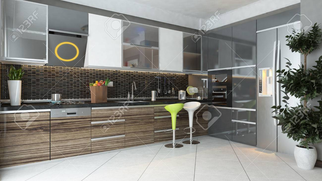 Schwarzer Keramik Und Holzmöbeln Unter Licht Der Modernen Küche 3D ...