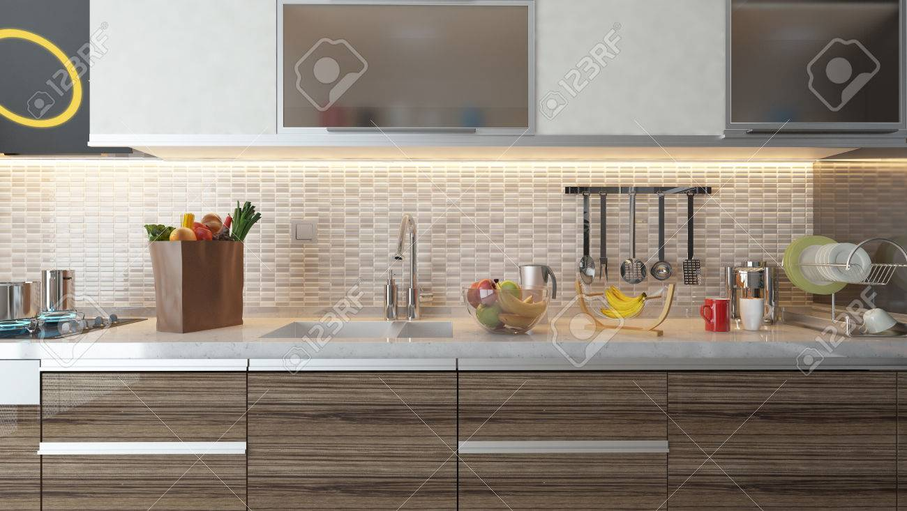 conception de cuisine en céramique blanche avec des fruits et de