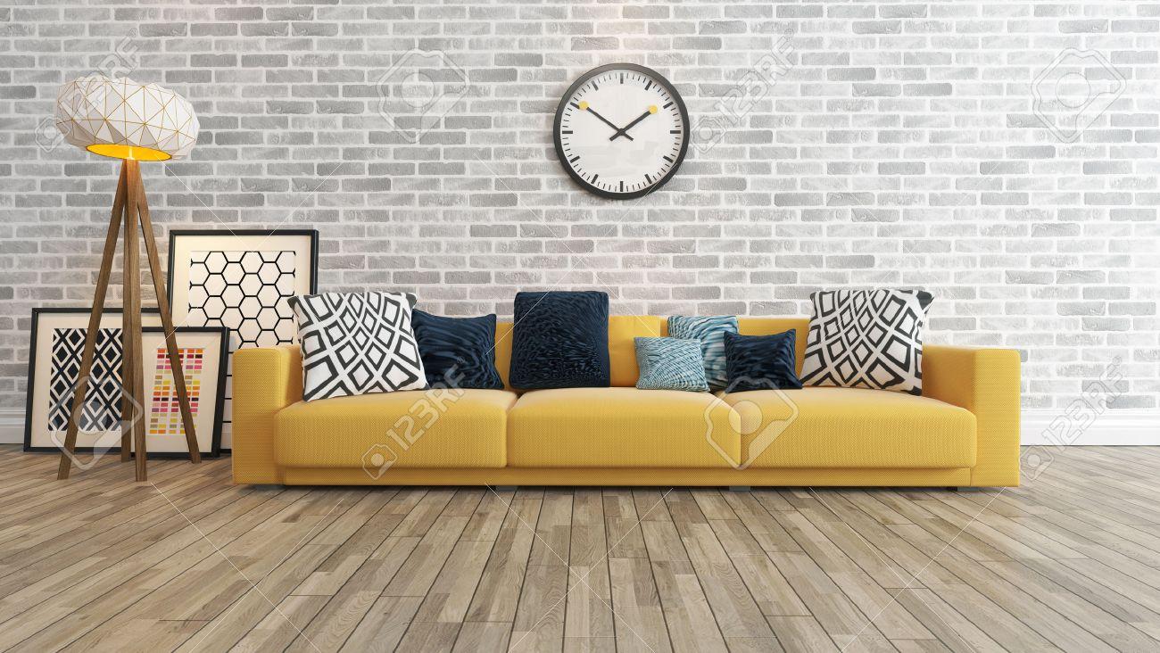 Ordinaire Standard Bild   Wohnzimmer Oder Salon Interieur Mit Großen Wand Gelb Sitz  Oder Sofa Und Bilderrahmen Beobachten 3D Rendering