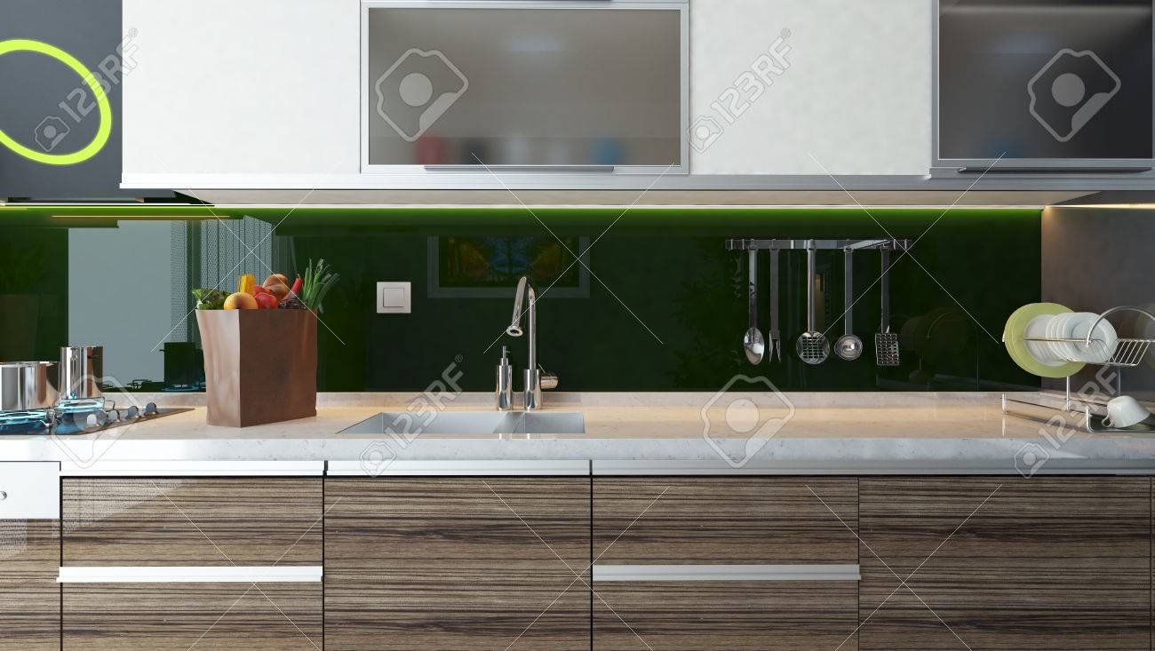 Modern Kitchen Background green acrylic modern kitchen design interior background for