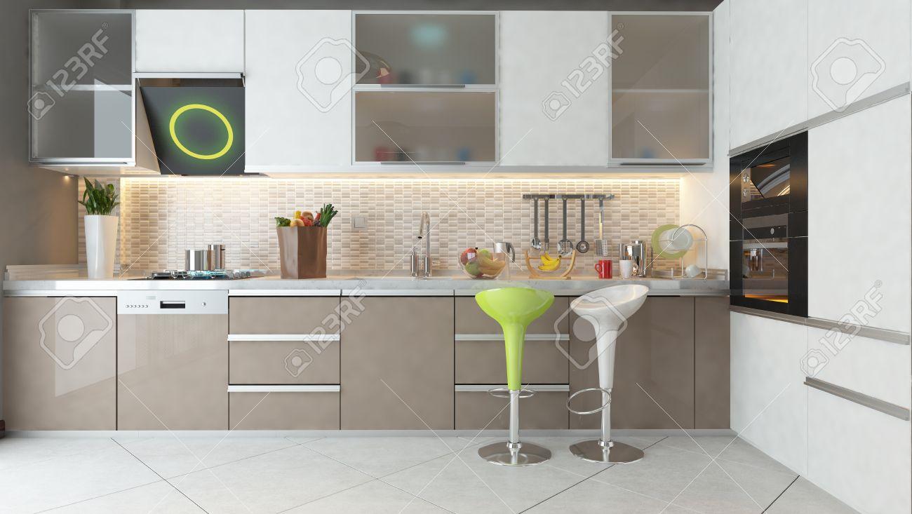Color blanco blanco y muebles de madera cappuccino cerámica en fase de  diseño de la cocina moderna 3d luz