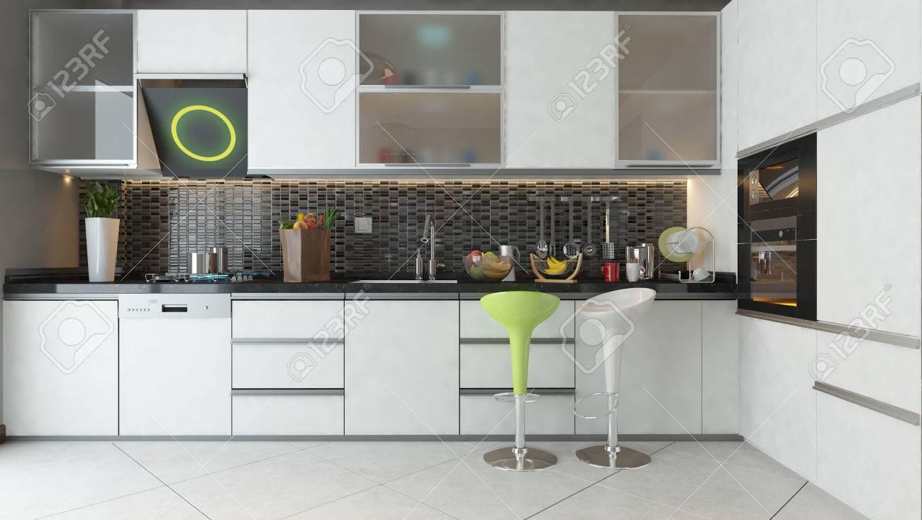 Color blanco muebles de madera blanca de cerámica en fase de diseño de la  cocina moderna 3D luz y de procesamiento del proyecto