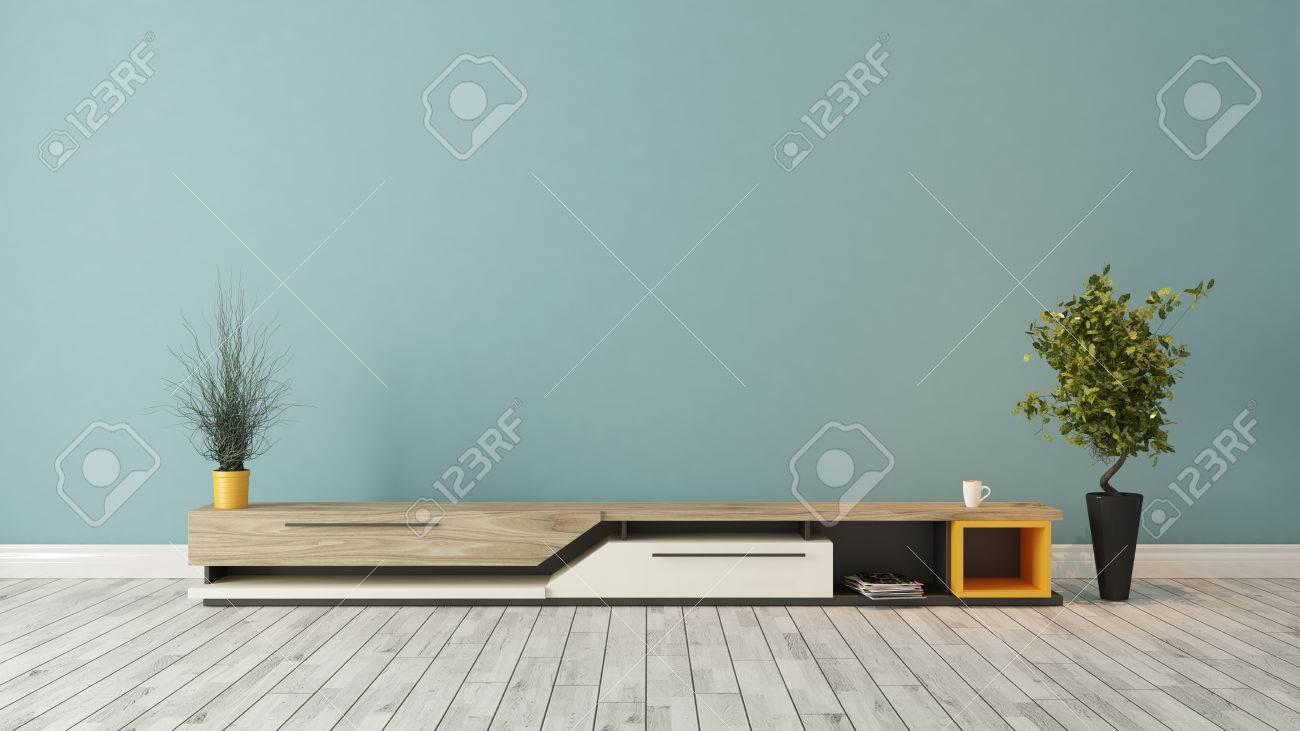 Moderne TV Ständer Design Mit Blauen Wand In Den Raum Dekoration Idee  3D Rendering