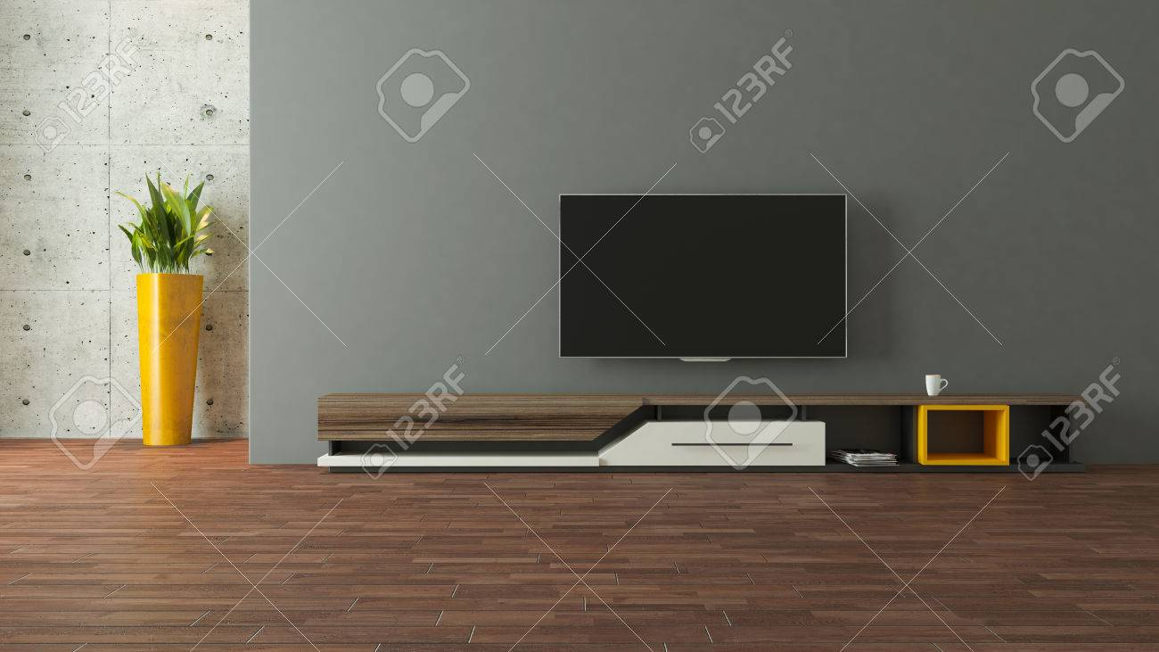 Modern Tv Stand Design With Wall In The Room Decoration Idea 3d Rendering  Stock Photo