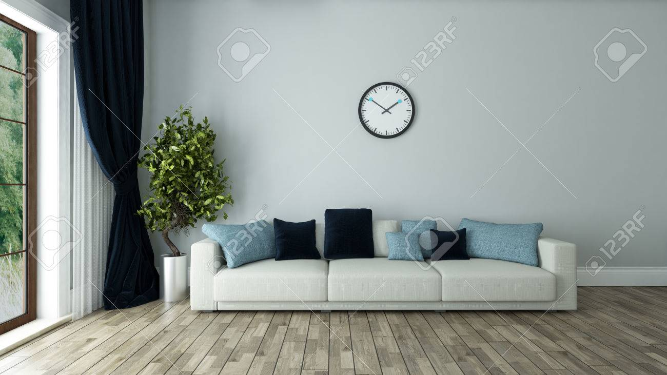 blue wall living room interior design with seat and watch 3d..