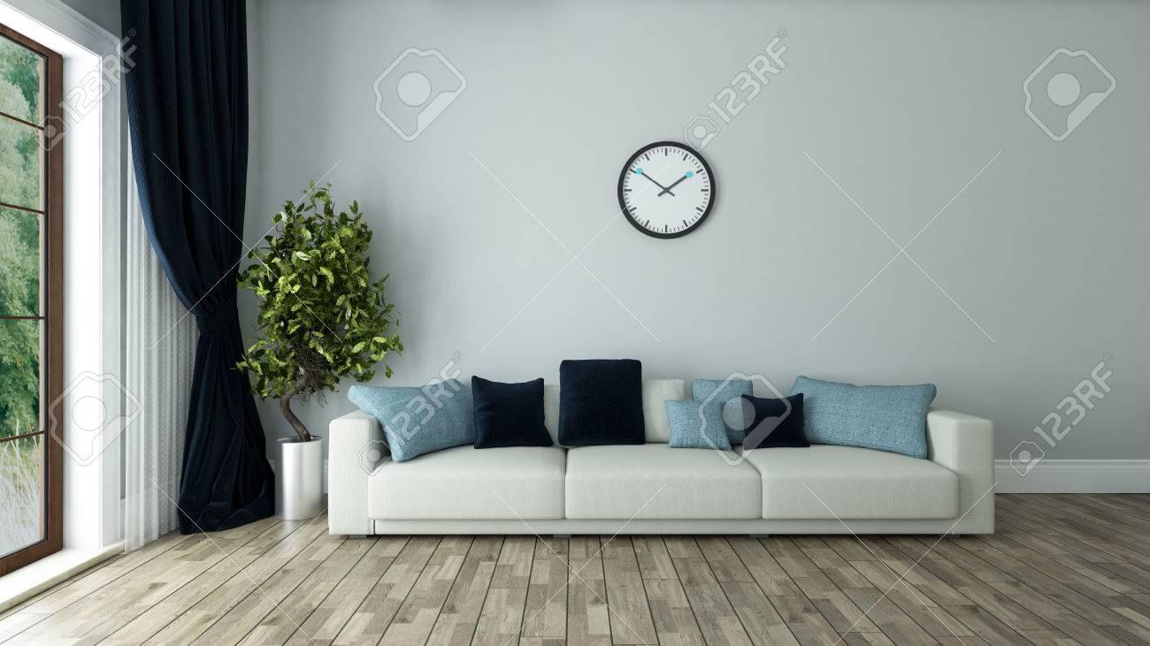 Banque Du0027images   Décoration Intérieure Du Salon De La Muraille Bleue Avec  Siège Et Montre Le Rendu 3D