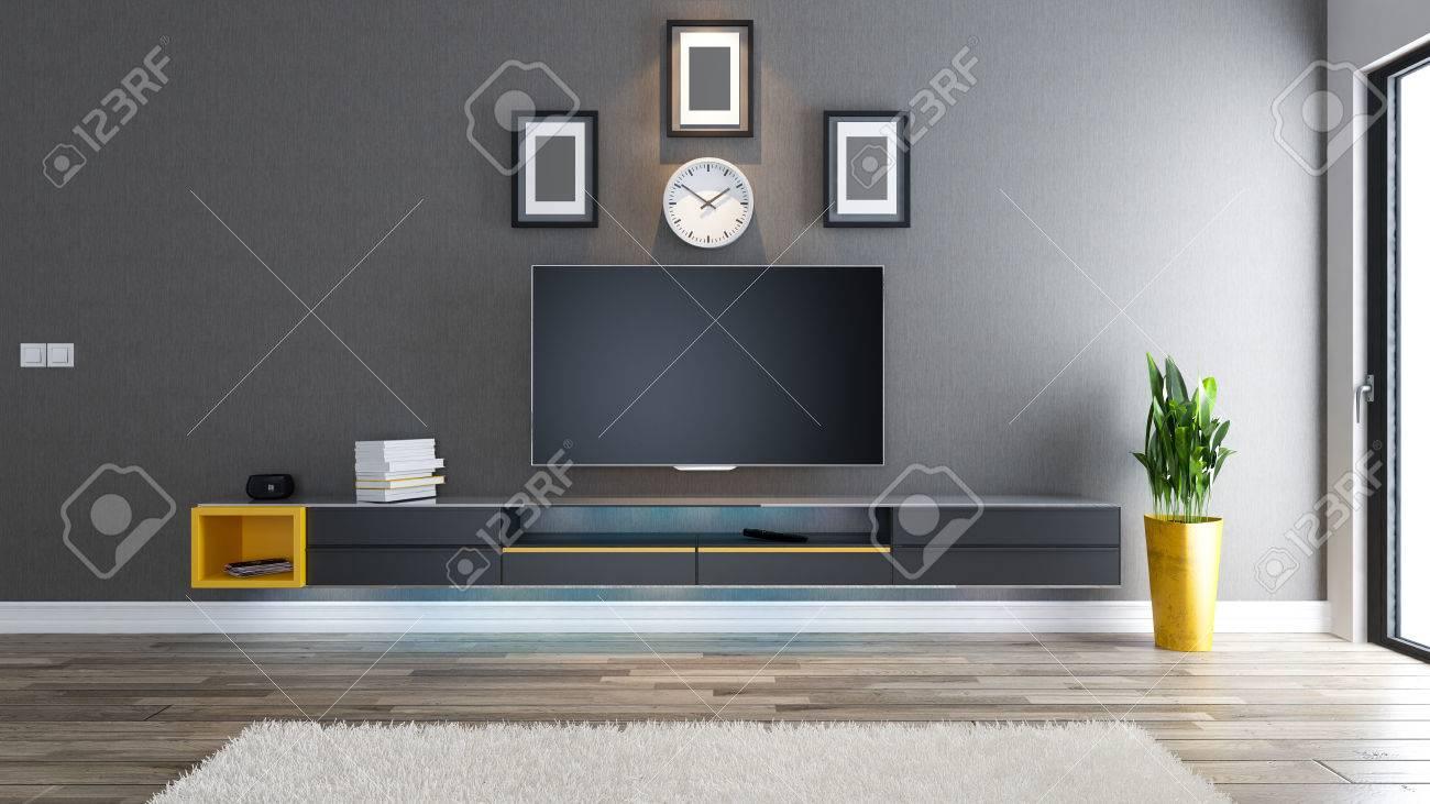 Salle De Television Salon Ou Salon Avec Papier Peint Recouvert