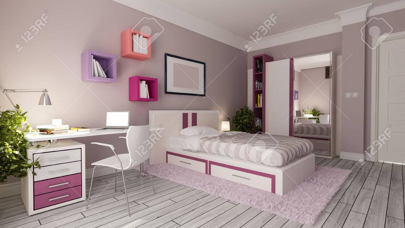 Stock Photo   Teen Girl Bedroom Interior Design Idea