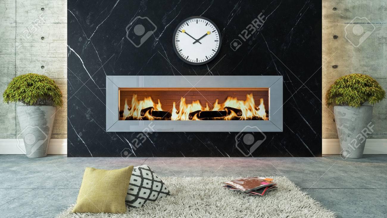 Salon Avec Cheminee En Marbre Noir Design 3d Et Rendu Pour Votre