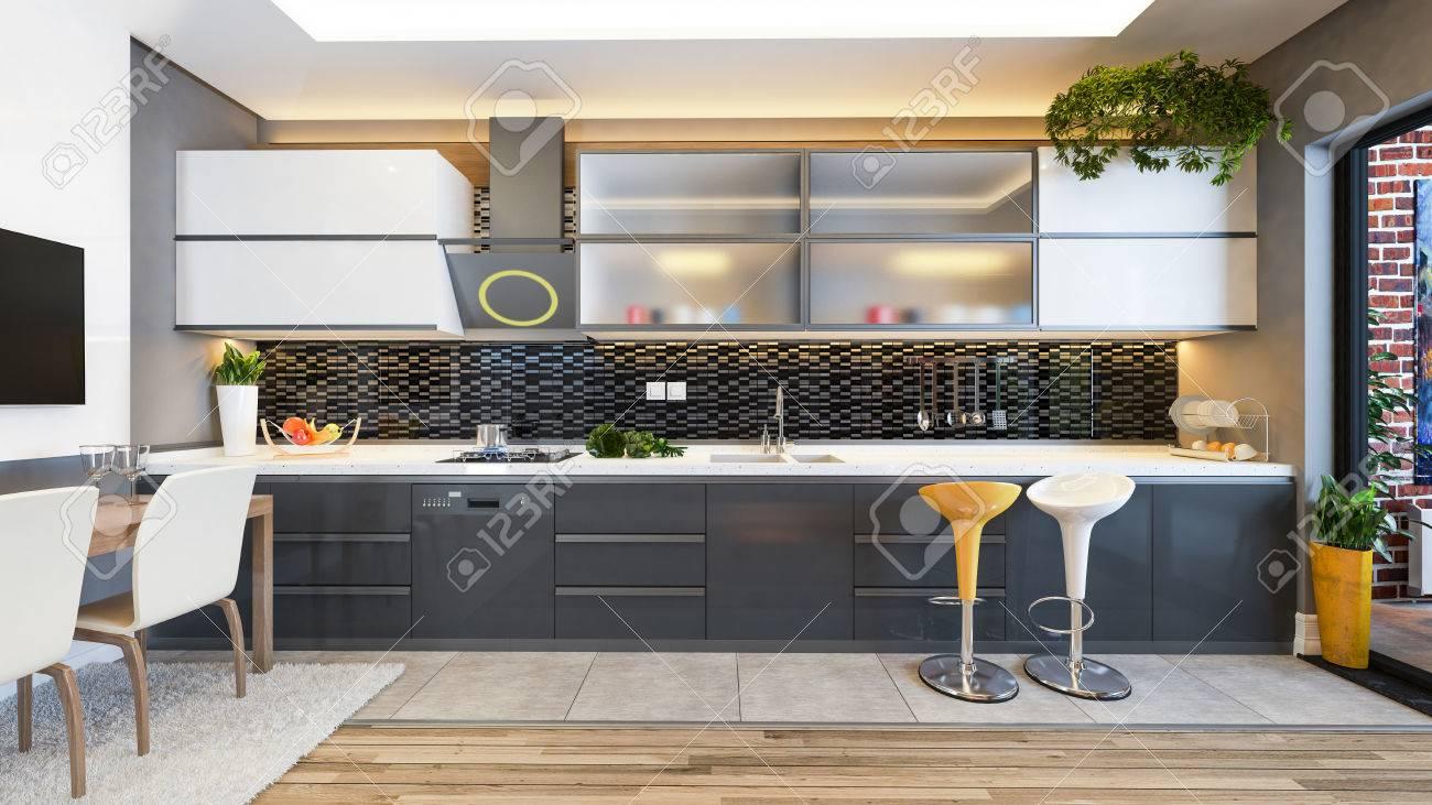 Cuisine Design Ceramique Noire Avec Fruits Frais Et Machines De