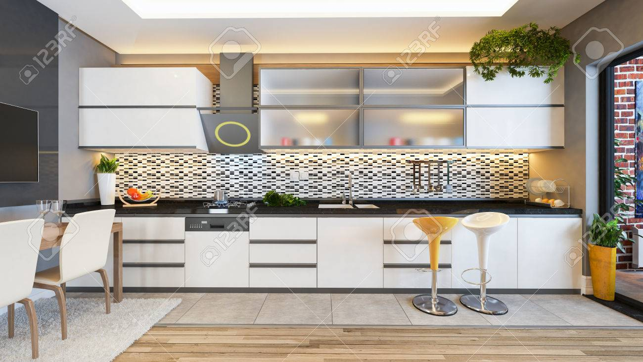 Küchen Design Weiße Keramik Mit Frischen Früchten Und Küchenmaschinen  3D Rendering Standard Bild