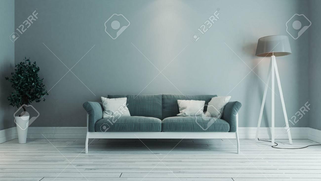 Blaue Farbe Wohnzimmer Innenarchitektur Mit Blauen Sitz Und Grüne ...