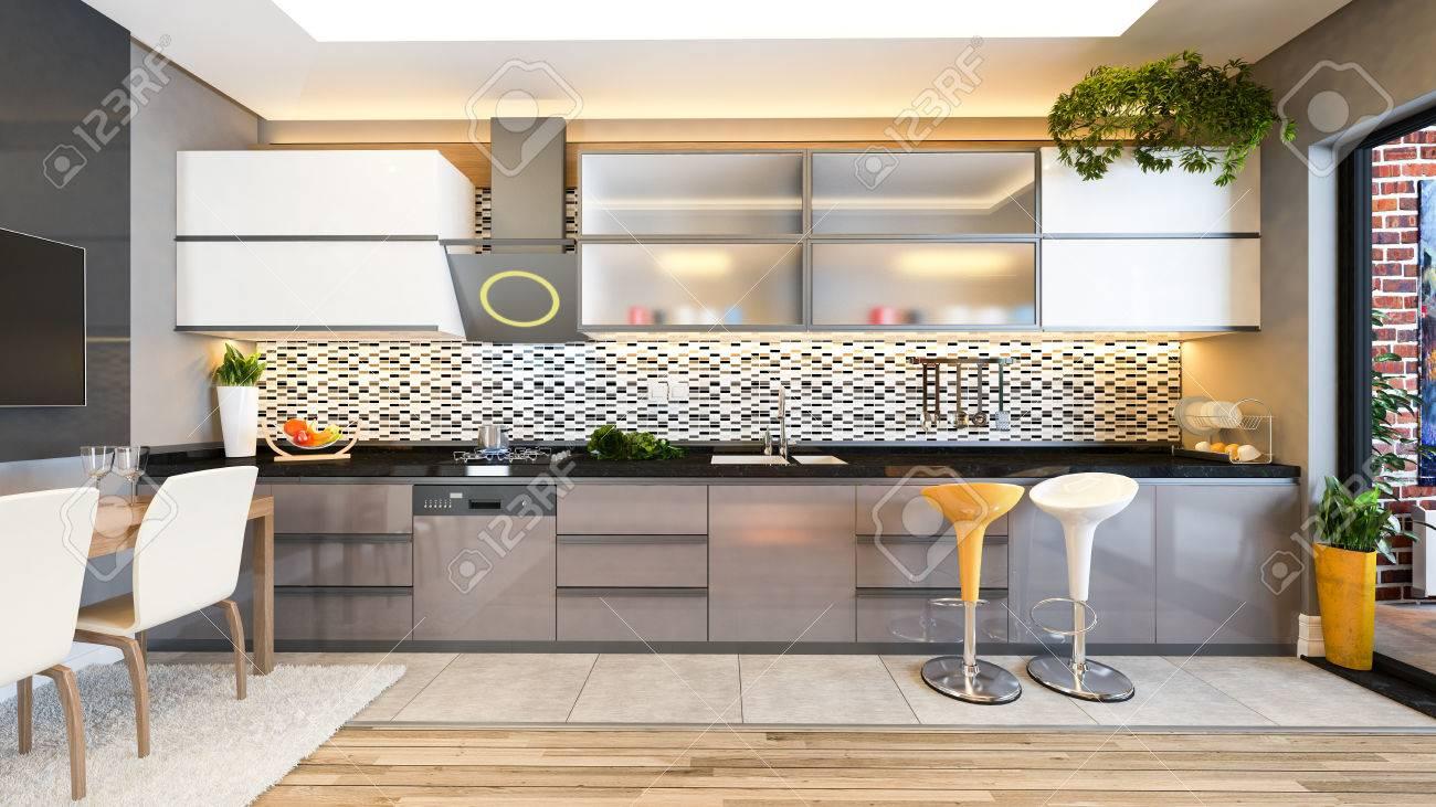 design de cuisine couleur cappuccino noir céramique blanche avec