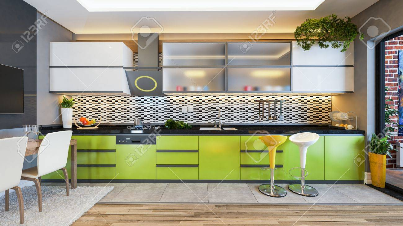 Green Color Kitchen Design Black White Ceramic With Fresh Fruit Stock Photo Picture And Royalty Free Image 84315590