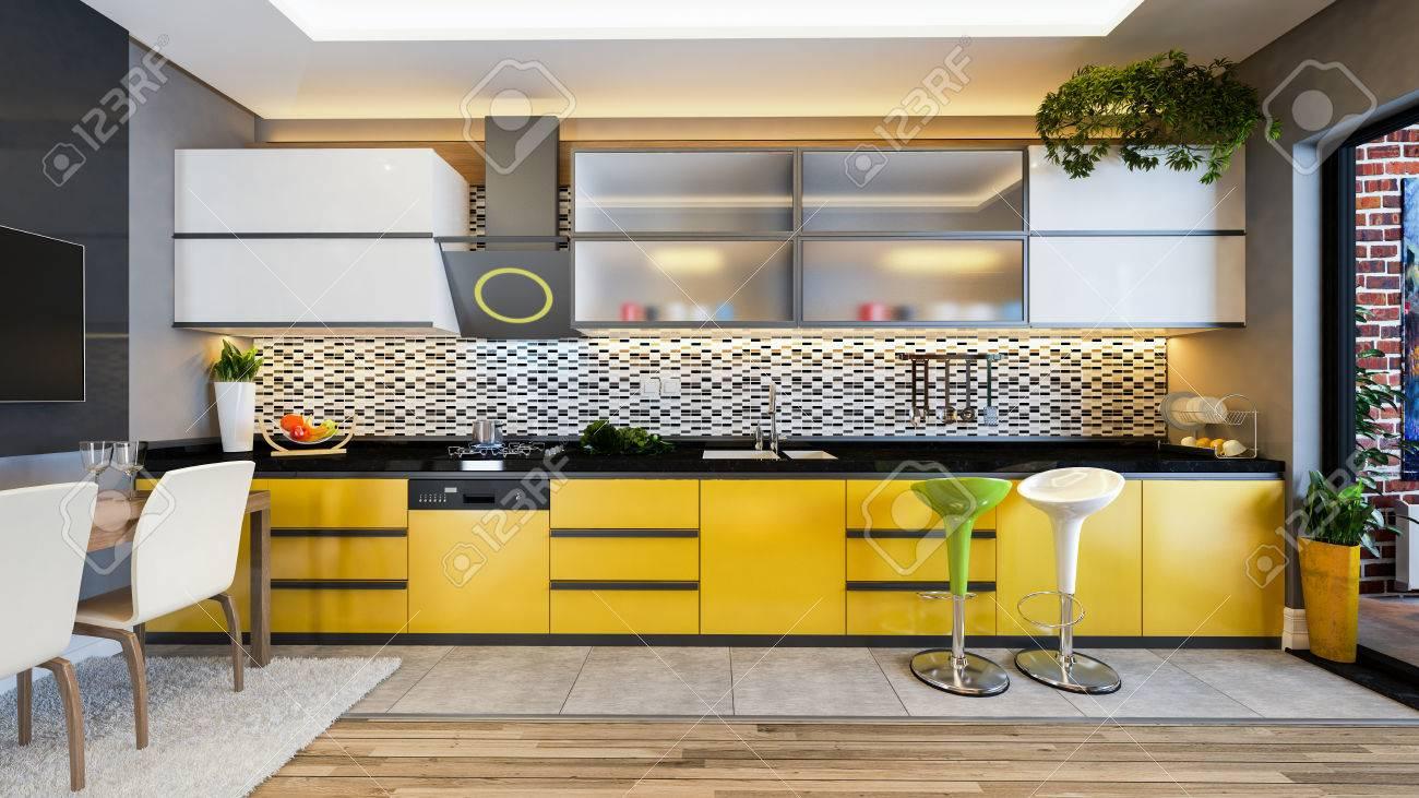 Design De Cuisine Couleur Jaune Céramique Noire Et Blanche Avec ...