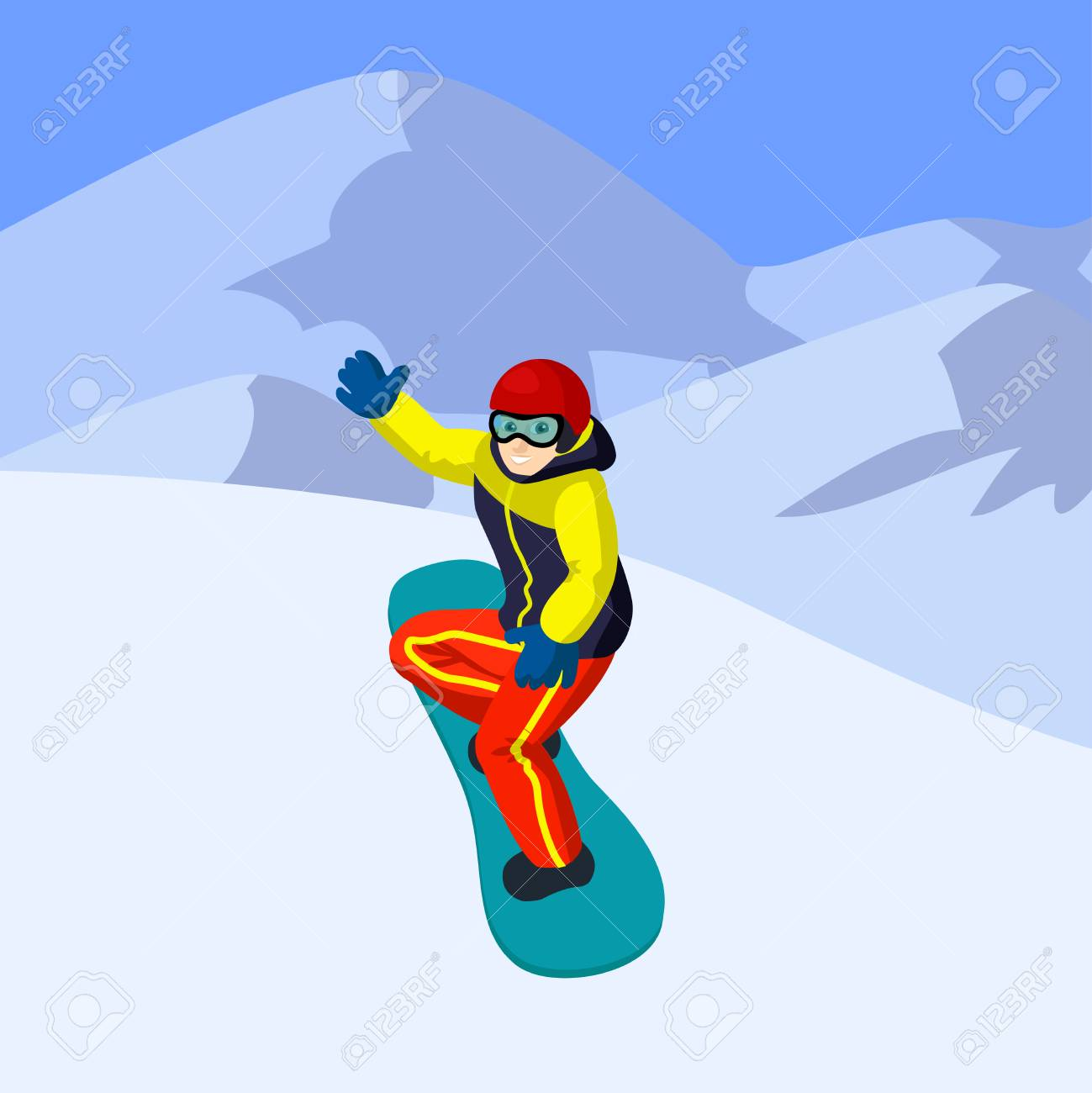 Vector Flat Cartoon Snowboarder In Mountains Cartoon Boy On Stock Photo Picture And Royalty Free Image Image 89663993