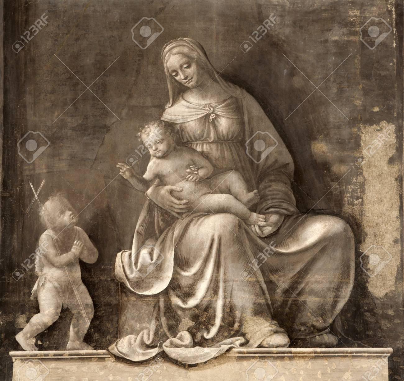 Milan - Fresco Of Virgin Mary - Monochrome Madonna From San Marco ...